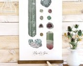 Minerals & Gems - jewels, rocks watercolor wall hanging, wood trim art printed on textured cotton canvas. Vintage Science Poster chart Vol.1