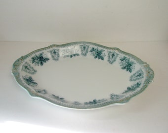 Antique Transferware Platter Stunning Late 19th Century W.H. Grindley Brussels 17 Inch Platter Green
