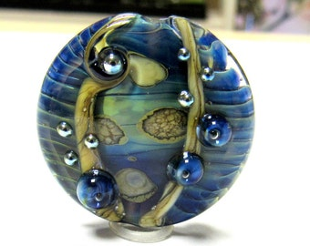 SMAUGGS handmade lampwork bead (30mm x 15mm), glass, lentil, blue, silver glass dots, hole 3mm