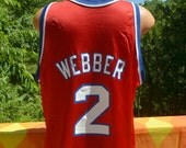 vintage 90s basketball jersey chris WEBBER washington BULLETS nba champion 48 Large