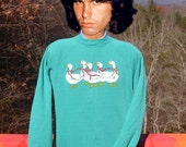 vintage 80s sweatshirt DUCKS geese crewneck raglan sweater Medium 70s country rustic