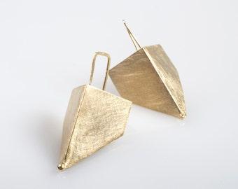 Folded earrings, Pyramid Earrings, Geometric Earrings, Gold Folded Earrings, Angle Earrings, Brushed gold earrings, Gift for Her