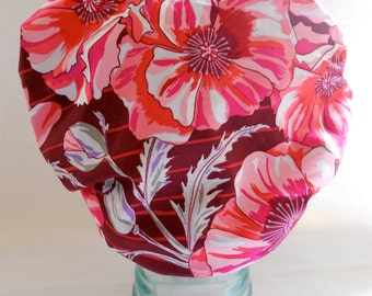 Shower Cap Sleep Bonnet - Satin Lined Retro Vintage Floral Print Pink Brown Maroon - Rockabilly Bath and Beauty Hat