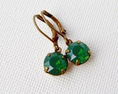 Green opal rhinestone earrings / vintage style / leverback / antiqued / gift for her / Swarovski / Boho / Estate style earrings