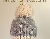 SALE Knit Hat PATTERN - Newborn Baby Toddler Fair Isle Knit Chunky Hat - Pom Pom Hat