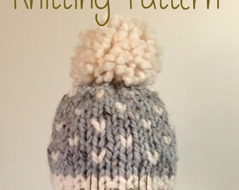 Knit Hat PATTERN - Newborn Baby Toddler Fair Isle Knit Chunky Hat - Pom Pom Hat