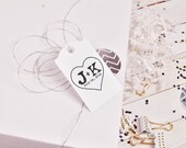 Initials etched in heart  rubber stamp - Custom monogram stamps