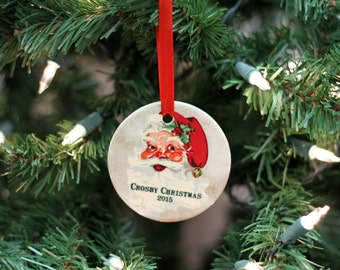 Custom Ornament, Jolly Santa Ornament, Personalized Christmas Ornament, Ceramic Family Christmas Ornament --60022-OR80-601