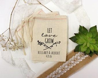 Wedding Favor Bags, Party Favor Bags, Let Love Grow Bag, Bachelor Party Favors, Bachelorette Party Favors, 2 x 3 --64519-MB01-610