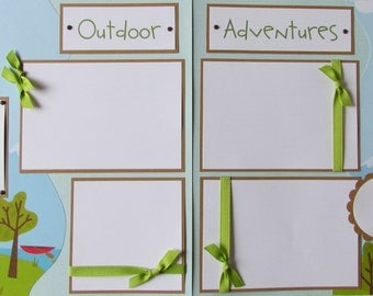 12x12 Premade Scrapbook Pages -- OUTDOOR ADVENTURES  ~ camping, hiking, canoeing, fishing, family, boy, girl