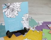 2017 Desk Calendar with Wooden Easel Stand – Rainbow Florals