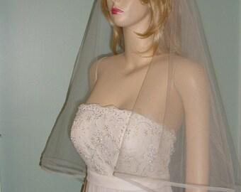 Horsehair Edge Wedding Veil Ivory  and other colors  v-191 Bridal veil