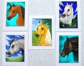 Mini Card Gift Tag Collection for Horse Lover with Palomino Friesian and Arabian