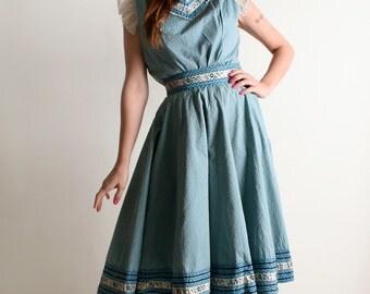 Vintage 1950s Patio Blouse & Skirt Set - Sky Blue Gingham Cotton Square Dance Dress - Small Medium