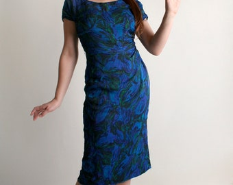 Vintage 1960s Wiggle Dress - Dark Blue Floral Chiffon Sheer Bombshell Dress - Medium