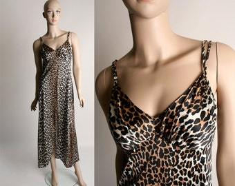 Vintage Leopard Print Slip - Long Vanity Fair Maxi Nightgown with Front Slit - small medium