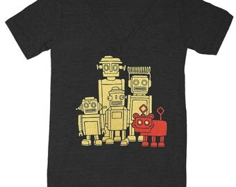 VNECK Vintage Robots - TRIBLACK - Unisex Mens Womens T-shirt Retro SciFi Tee Shirt Awesome Geek Science Nerd Robot Techie Technology Tshirt