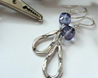 Sterling Silver Fine Silver Artisan Teardrop Hoops Blue Quartz Cube OOAK Boho Rocker Gypsy Gift for Her Earrings