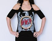 Slayer shirt thrash metal clothing tunic top alternative apparel reconstructed altered band tee t shirt rocker clothes dark style