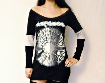 Carcass Off Shoulder tunic top death metal thrash clothing alternative apparel rocker chic altered band tee t-shirt surgical steel