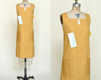 1970s Dress --- Vintage Mustard Yellow House Dress