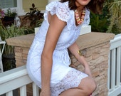 White Lace Boho Flutter Sleeve Dress