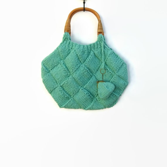 Mint Green Bag Knitted in Cotton with Rattan Handles
