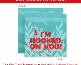 Valentine's Day Hooked On You Fishing Love Favor Gift Tags - Instant Download - Printable DIY with fully editable text