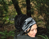 Interstellar Weave Headband, Black and gray Dreadband, Hippie Hair Wrap Intergalactic Apparel