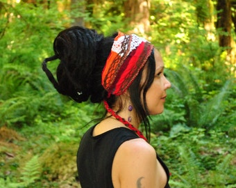 Hippie Headband, Festival Clothing, RETRO colors Dreadband, Dread Wrap, Dreadlocks, Intergalactic Apparel