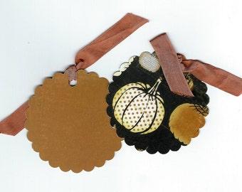 Six Pumpkin Scallop Circle Fall Halloween Gift Tags, Hang Tag Set, Gift Tag Set, Trick or Treat Embellishment PSS 2932