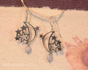 Crescent Moon and Stars Handcrafted Sterling Silver Hook Earrings. Blue Lace Agate Bead. Celestial Dangle
