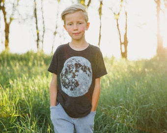 MOON tshirt - unisex t-shirt for boys or girls - kid's graphic tee - hand printed full moon on tri-blend black - astronomy t shirt
