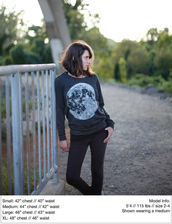 Womens pullover - long sleeved slouchy raglan - full moon print on lightweight heather black shirt - for her / for women - moon shirt