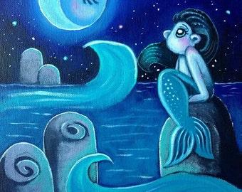 ORIGINAL Big Eye Art Acrylic Painting Mermaid Moon Stars Ocean Fantasy Sea Starry Night Chicasol Tamia