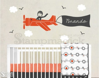 Plane Wall Decal - Airplane with Name Banner & Pilot for Children Boys Baby Nursery Wall Mural Decor - K037