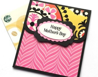 Mother's Day Gift Card Holder - Happy Mother's Day Card - Unique Mothers Day Money Card - Modern Pink and Black Gift Card Envelope