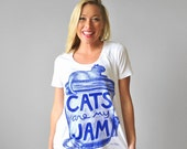 "SALE Ultra Wash Womens Cat Print White Shirt ""Cats are my Jam"" back to school cat lover gift for women american apparel crazy cat lady"