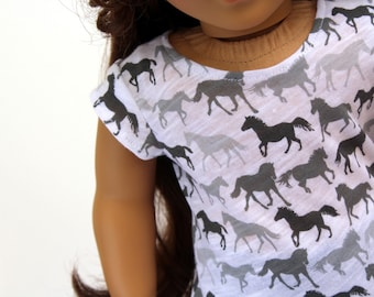 Fits like American Girl Doll Clothes - Wild Horses Tee and Blue Jeggings, Made To Order