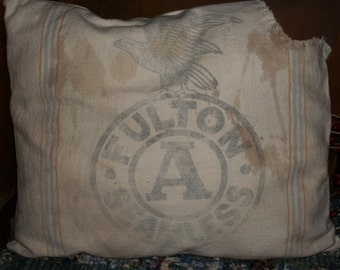 "Primitive ""FULTON"" Feedsack Pillow"