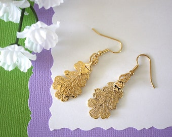 Gold Oak Leaf Earrings, Lacey Oak Leaf, Real Leaf Earrings , Oak Leaf, 24kt Gold, Nature, LESM125