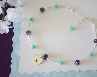 Initial Amethyst Anklet Sterling Silver, Purple Anklet, Teal, Initial Anklet, Beach, Vacation, Beach Wedding, Bridesmaid, best friend gift