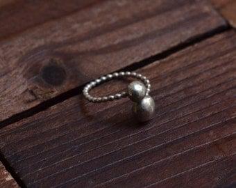 Sterling Silver Ball Ring  - Asymmetrical Silver Ring - Silver Open Ring- Modern Metallic Ring - Minimal Silver Ring - Boho Ring - ALL Sizes