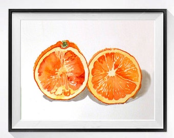 Orange Art Print, Kitchen Art, Fruit Print, Orange Kitchen Art, Oranges, Citrus prints, Orange painting, Orange Illustration, Modern Kitchen