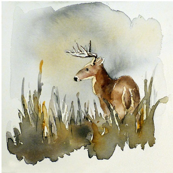 Deer Art - Print of a Watercolor Painting - Stag art Deer painting Animal art Animals in art Buck Woodland Cabin Woods Brown Green - 10x10 A