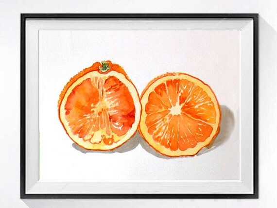 1. Oranges Painting  Watercolor Print Fruit art Healthy Vitamin C artwork Kitchen orange still life Orange painting Orange fruit art