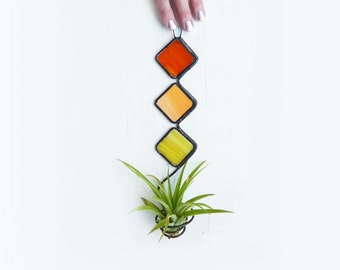 Stained Glass Air Plant Holder -   Mod Trio with Deep orange, peach, and yellow -NEW COLORS