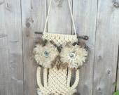 VIntage 1970's Era Macrame Owl Wall Hanging Big Blue Eyes