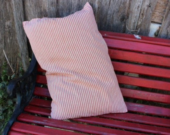 Vintage Red and White Stripe Ticking Feather Pillow