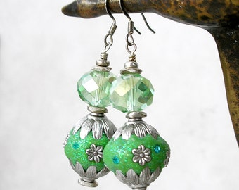Chunky Green Crystal Earrings Bollywood Silver Embellished Beads Bling Gift For Her